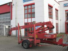 Anhänger-Arbeitsbühne mit einer Arbeithöhe 12 Meter mieten. Seitl. Reichweite 8 Meter, Tragkraft max. 200